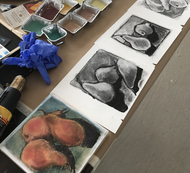 Encaustic Painting: Charcoal & Oil Pastel Surfaces