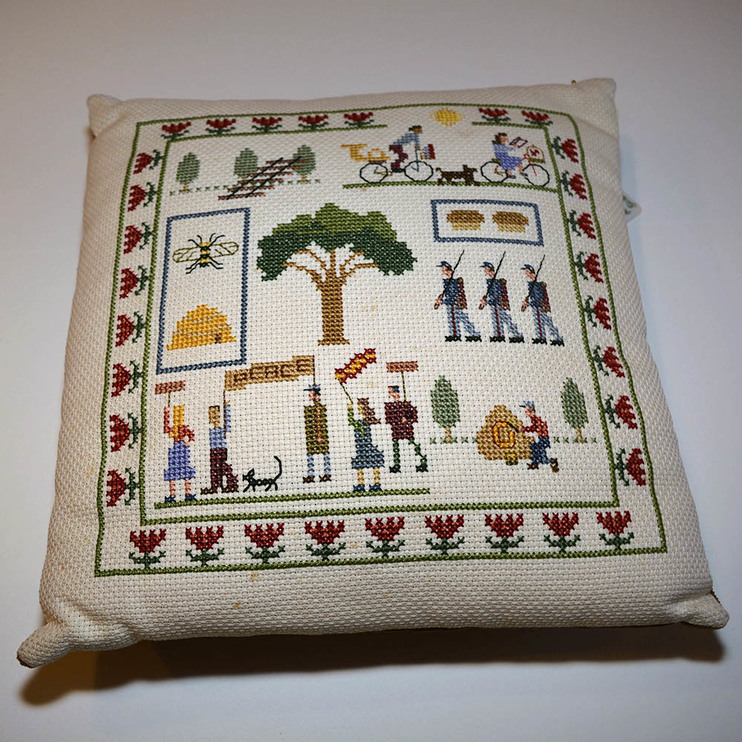 Hand stitched Oberlin Pillow