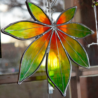 Stained Glass Autumn Leaf